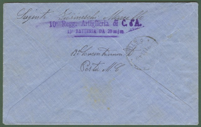Colonie. CIRENAICA. Lettera del 1940 da Bengasi a Lamporecchio (Pistoia)