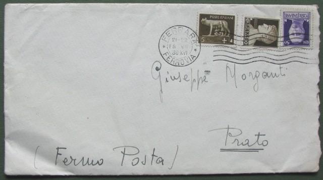 Regno. Fermo Posta. Lettera da Ferrara del 18.7.1938