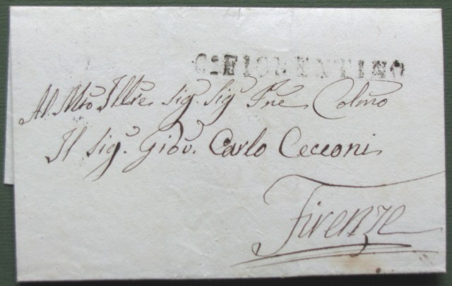 Prefilatelica. TOSCANA. Lettera del 1840 da Castiglion Fiorentino a Firenze.