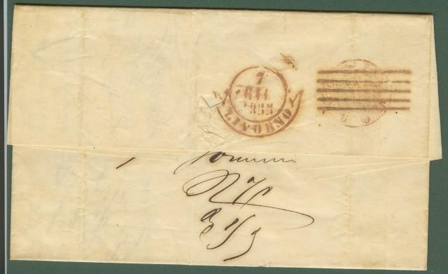 Antichi Stati. Lettera del 1855 da Firenze a Livorno.