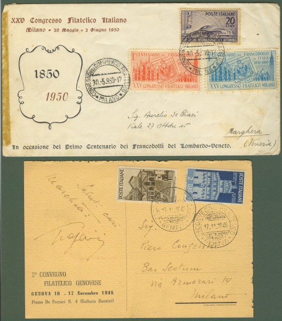 Repubblica. Convegni filatelici di Milano 1950 e Genova 1946.