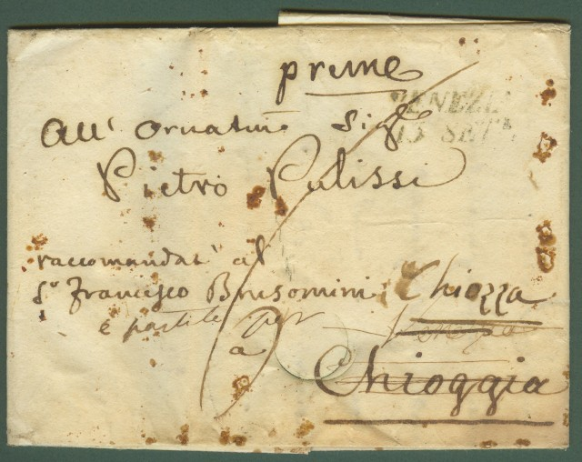 Prefilatelia - Veneto. Lettera completa di testo da Venezia per Chioggia.