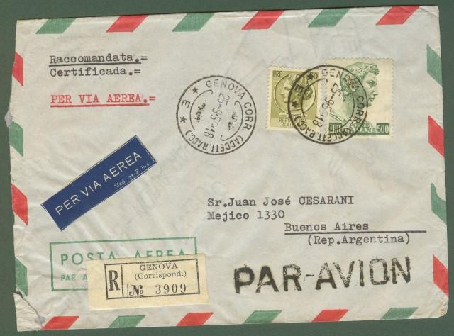 Repubblica. Aerogramma. Lettera raccomandata del 25.9.1959 per l'Argentina.