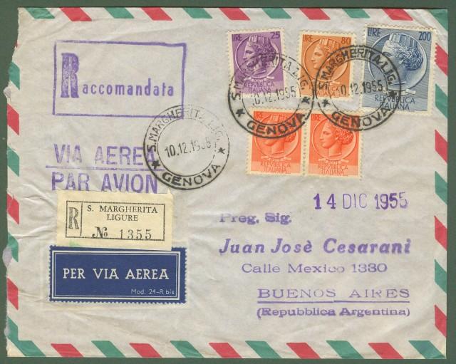 Repubblica. Aerogramma. Lettera raccomandata del 10.12.1955 per Buenos Aires