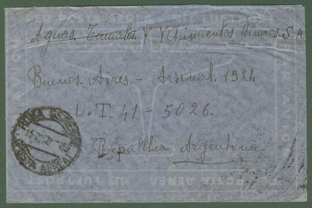 Repubblica. Aerogramma. Lettera del 15.2.1947 da Roma per Buenos Aires.