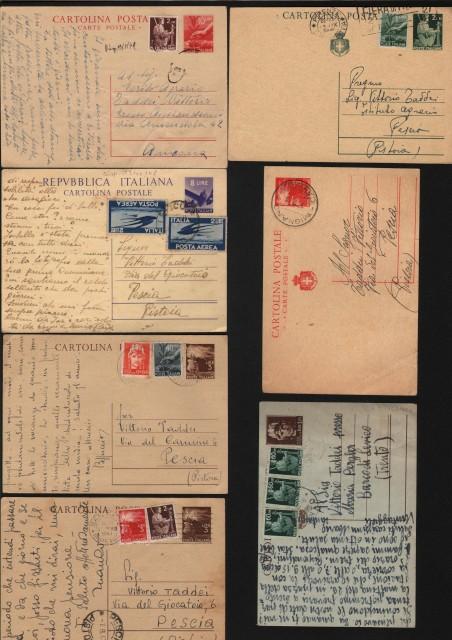 REPUBBLICA. INTERI POSTALI. 7 cartoline postali (usate 1946-49) con francobolli aggiunti.