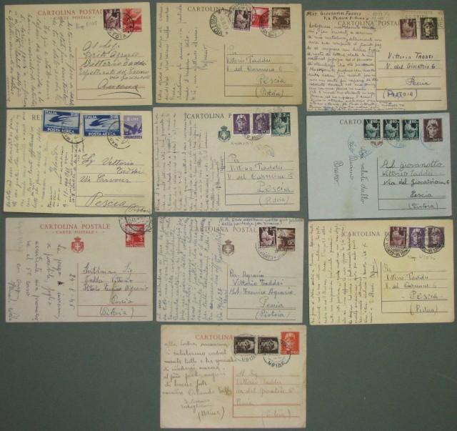 REPUBBLICA. INTERI POSTALI. 10 cartoline postali (usate 1946-1949) con francobolli aggiunti.