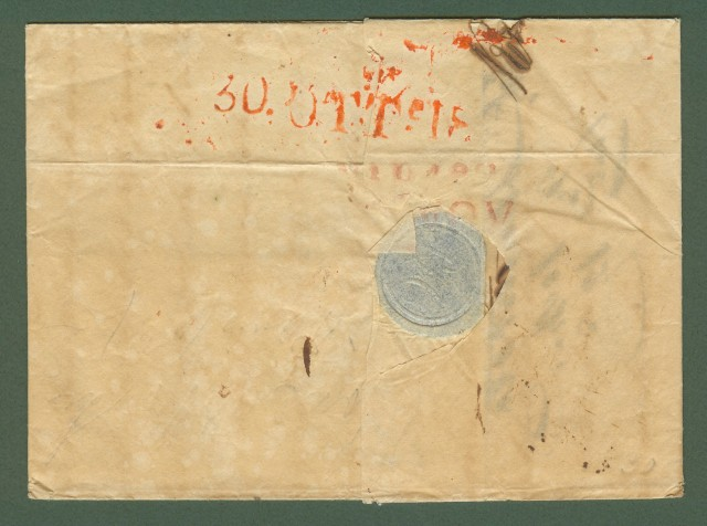 SICILIA - TOSCANA. Lettera del 30 ottobre 1830 da Messina a Livorno.