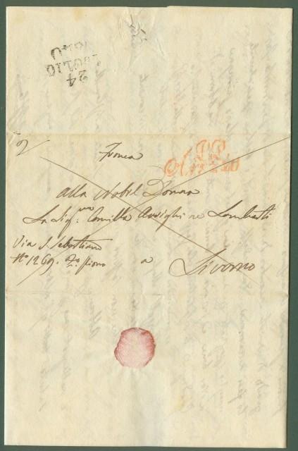 Prefilatelia. TOSCANA. Lettera prefilatelica del 22.7.1840 da Arezzo a Livorno con bollo rosso