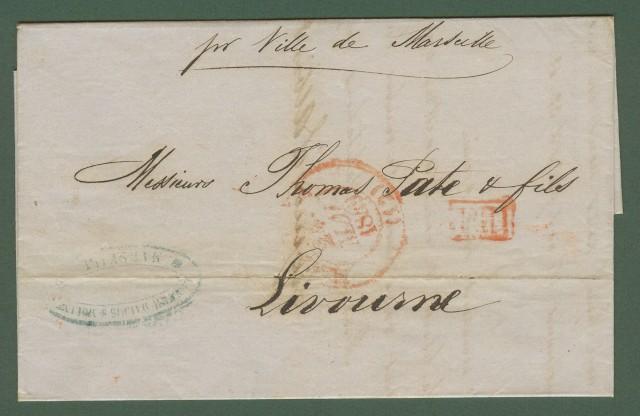Prefilatelia. NAVIGAZIONE. Lettera del 1849 da Marsiglia a Livorno.