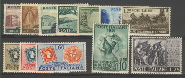 REPUBBLICA. Insieme formato da francobolli del 1951