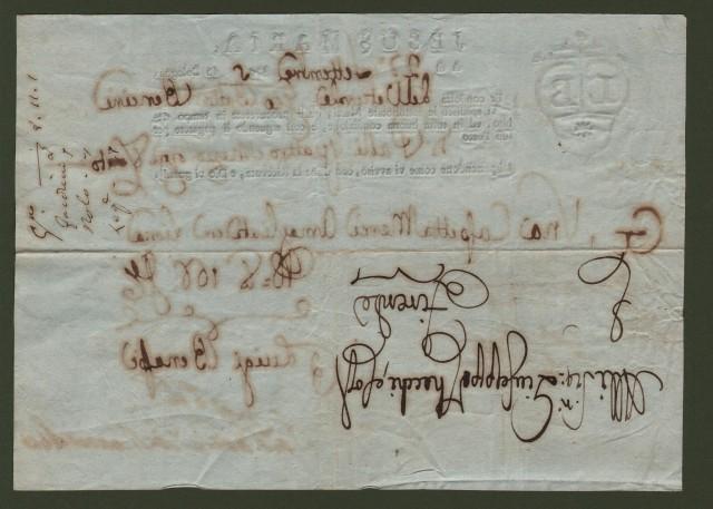 LETTERA DI CONDOTTA del 22 Settembre 1795 per merci spedite da Bologna a Firenze del vetturale Giobatta Bencini