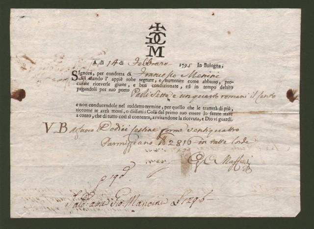 LETTERA DI CONDOTTA del 14 Febbraio 1795 per merci spedite da Bologna a Firenze del vetturale Francesco Menini