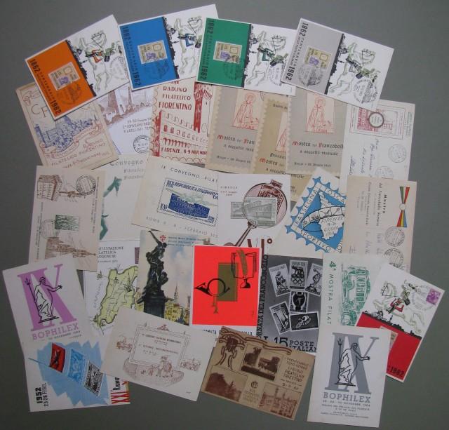 FILATELIA. 26 cartoline diverse a soggetto filatelico, quasi tutte disegnate a colori. Periodo 1950/1964. Tutte con annullo speciale e in gran parte viaggiate.