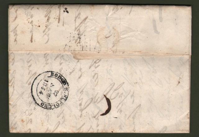 TOSCANA. Lettera del 22 settembre 1844 da Orbetello per Pieve S. Stefano. Apposti, in partenza, i due bolli lineare e a data.