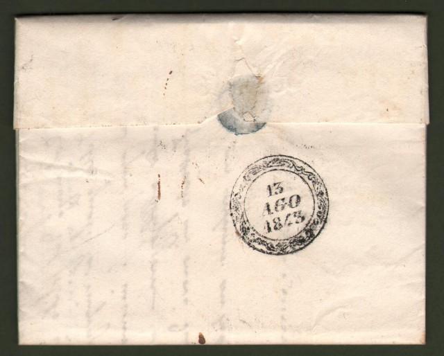 TOSCANA. Lettera del 12 agosto 1843 da Firenze per Pieve Santo Stefano. In arrivo bollo muto con data di Borgo San Sepolcro.