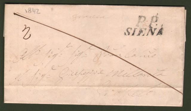 TOSCANA. Lettera del 1842 da Siena per Grosseto. Lineare nero P.P. SIENA.