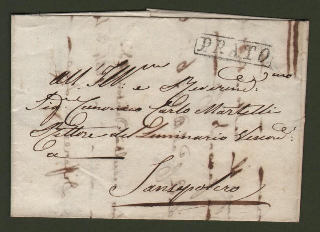 TOSCANA. Lettera da Prato del 1836 per Sansepolcro.