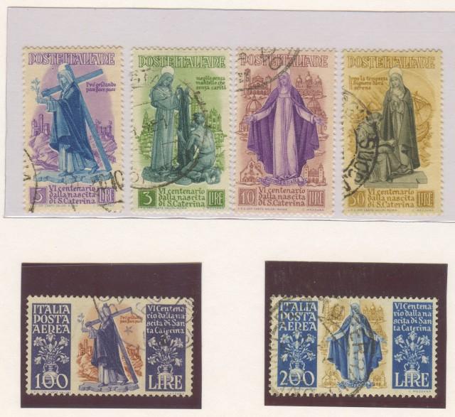 Repubblica. Anno 1948. S. Caterina. Sassone serie 133 (4 valori di P.O. + 2 valori di P.A.).