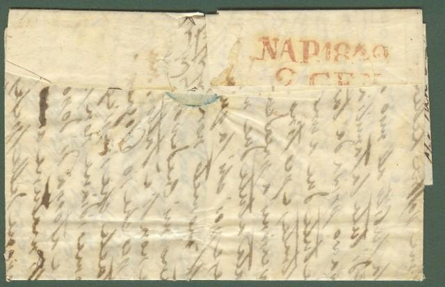 Prefilatelia. PACCHETTO A VAPORE STATI D'ITALIA e POSTA GIORNALE in cartella rossa su lettera del 1841 da Genova per Napoli.