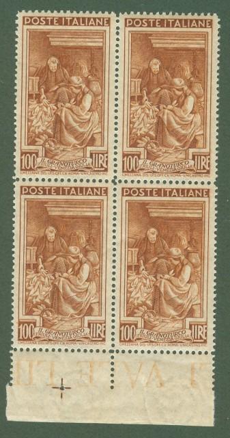 Repubblica. ITALIA LAVORO. Anno 1950, filigrana ruota. Lire 100 in quartina dent. 13 1/4 x 14 1/4.