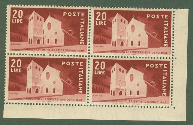 Repubblica. ELEZIONI TRIESTE. Anno 1949. Quartina lire 20 nuova.