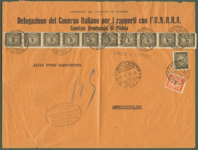 Repubblica. TASSA A CARICO. Lettera di tre porti da Pistoia a Montevettolini.