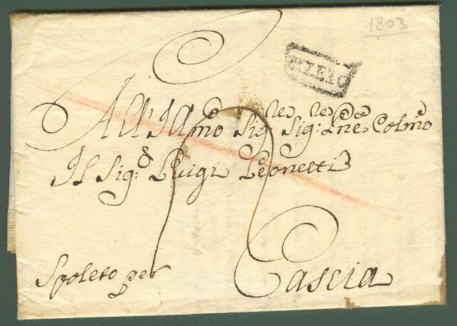 Prefilatelia. ROMAGNA. UMBRIA. Lettera del 1803 da Rimini per Cascia.