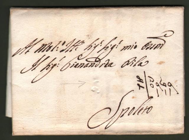 UMBRIA. Lettera da Ravenna a Spoleto del 13 Giugno 1789. Al recto bollo a secco a forma di x del sub appaltatore postale pontificio.