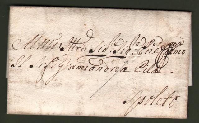 UMBRIA, MARCHE. Lettera da Fermo a Spoleto del 31 Dicembre 1778.  Al recto, apposto in arrivo, il bollo a secco a forma di x, del sub appaltatore postale.