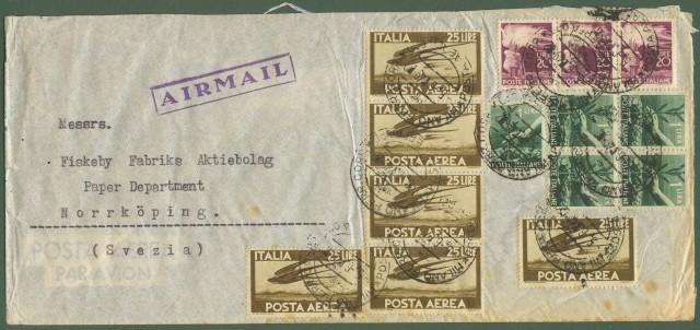 Repubblica. AEROGRAMMA del 5.6.1949 da Milano per la Svezia. Affrancato per lire 215.