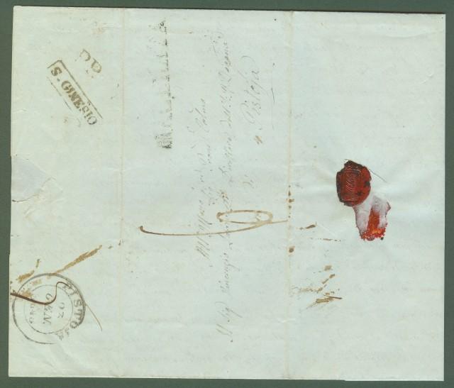 Prefilatelia. MARCHE. Lettera da S.Ginesio (Macerata) a Pistoia del 16.1.1848.