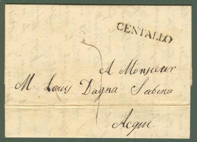 Prefilatelia. PIEMONTE. Lettera del 1839 da Centallo (Cuneo) ad Acqui (Alessandria).