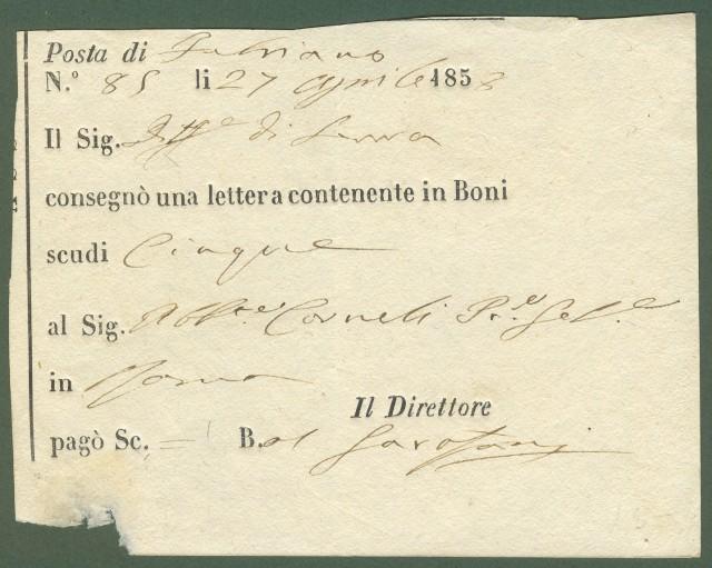 Prefilatelia. MARCHE. Ricevuta della posta di Fabriano (Ancona) del 27.6.1858.