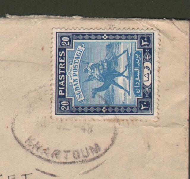 SUDAN. 1948. Registered letter for U.S.A..