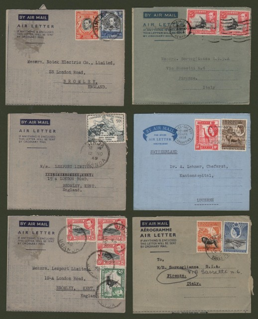 KENYA - UGANDA - TANGANYKA. 6 air letters 1948-1958 for England, Italy, Switzerland.