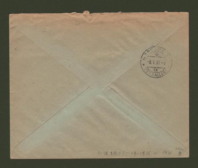 SVERIGE. 1937. Registered letter for Schweiz.