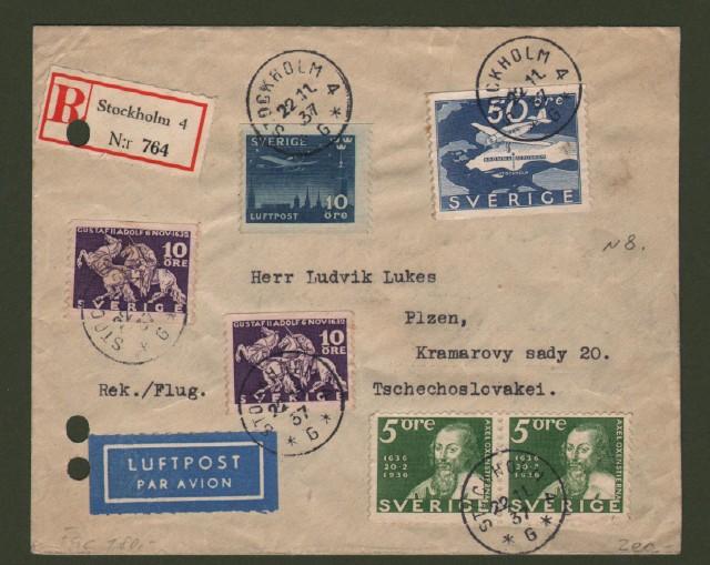 SVERIGE - SVEZIA. Registered air letter for Cecoslovacchia.