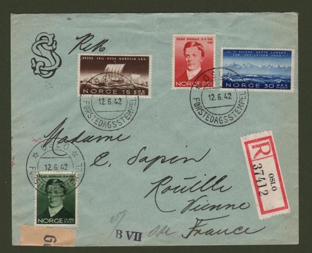 NORGE - NORVEGIA. Registered letter 2.6.1942 for France.