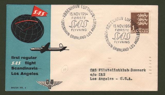 FIRST REGULAR SAS FLIGHT SCANDINAVIA - LOS ANGELES. 15.11.1954.