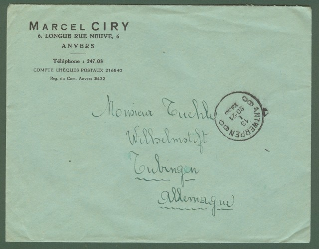 BELGIO. Lettera del 1938 per la Germania