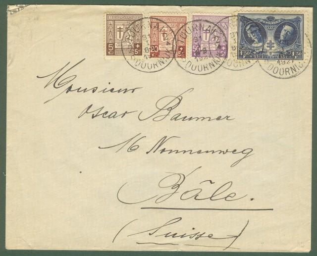 BELGIO. Lettera del 1927 per la Svizzera.