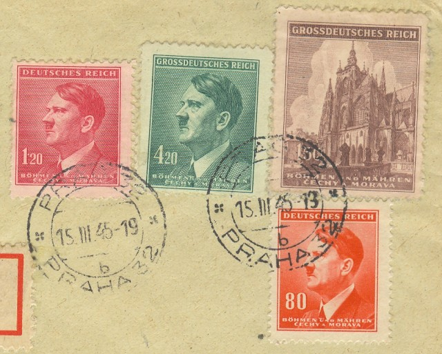BOEMIA-MORAVIA. Lettera raccomandata del 15.3.1945 per Kirchhausen