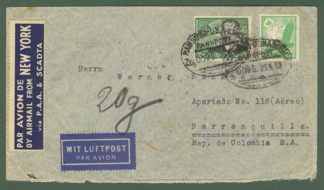 GERMANIA.   Aereogramma del 25.4.1939 da Amburgo per la Colombia