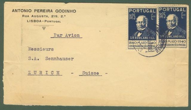 PORTOGALLO. Aereogramma del 28.9.1940 per Zurigo