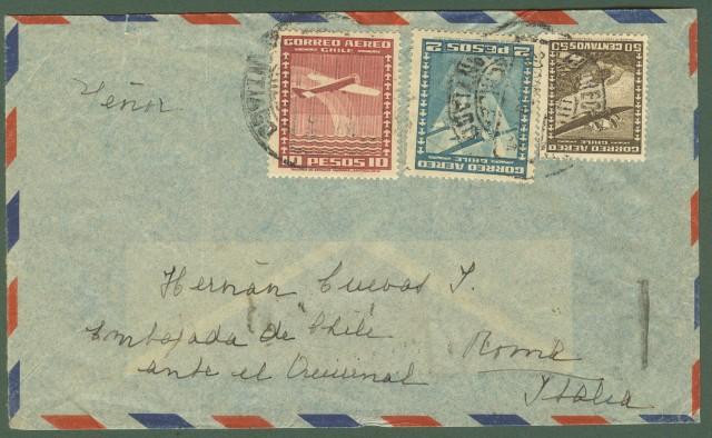 CILE. Aereogramma. Lettera aerea del 20.10.1938 per Roma