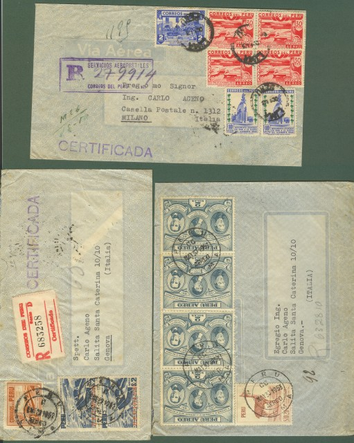 PERU'. 1950/53. Tre aeregramma per l'Italia
