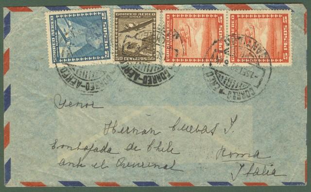 CILE. Aereogramma. Lettera aerea del 1.9.1938 per Roma