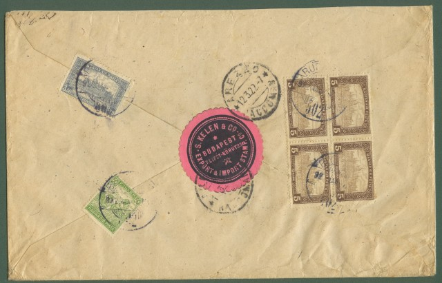 UNGHERIA. 1922. Registered cover for Arezzo (Italy).