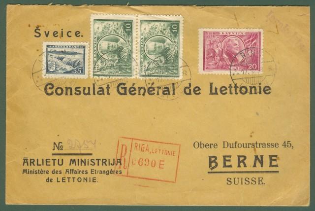 LETTONIA. Lettera raccomandata per Berna